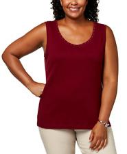 Karen Scott Womens Plus-Size Studded Tank Top