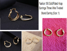 Fashion Gold 3 Wire Twisted Hoop Earing For Women Very Attractive
