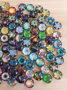 30 x Muster Cabochons zum Basteln/Schmuckherstellung Glas Rund Ø 12mm