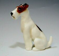 """Royal Doulton Mini Dog Figurine K8 Wire Fox Terrier Seated - 2 3/8"""" tall"""