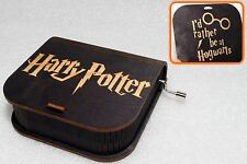 I'd Rather Be At Hogwarts - Harry Potter Music Box - Hand Crank Engraved Wooden