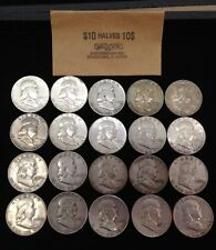 Roll Of (20) Silver Franklin Half Dollars No  Reserve Auction!!!!!!!