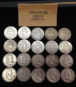 Roll Of (20 ) Silver Franklin Half Dollars  No  Reserve Auction