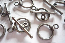 Antiqued Pewter 11mm Simple Toggle Clasps - Oxidized Silver - Qty 9 Sets