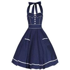 Vestiti da donna blu fantasia pois in misto cotone