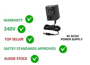9V AC 300MA POWER SUPPLY 9 VOLT 300MA 2.1MM TIP 0.3A WALL ADAPTER 240V AUS