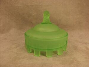 Taussaunt Green Satin  Glass Court Jester Powder Jar