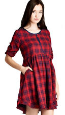 JODIFL Womens Red Navy Vintage Lined Plaid Chic Long Sleeve Casual Dress  S M L