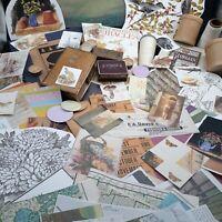 Ephemera Collage lot floral junk journal scrapbook maps vintage paper pill box