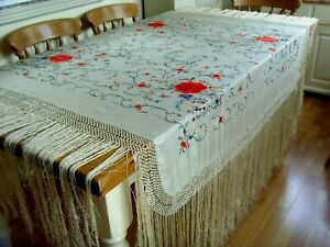ANTIQUE / VINTEGE CHINESE? LARGE HAND EMBROIDERED DOUBLE SIDED SILK PIANO SHAWL