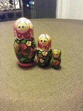 Three Russian Nesting Dolls Hand painted
