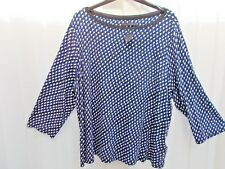 BNWT M&S  Blue, black and White Print 3/4 Sleeve Jersey Top Size 22