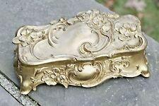 "Antique Gold Art Nouveau 9"" Cherry Blossom Textured Glove Jewelry Casket 1912"
