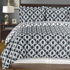 100% Combed Cotton Duvet cover Set- 3PC Sierra Silky Soft Reversible Duvet Cover