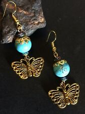 Golden Butterfly Charm Earrings With Blue Turquoise Howlite And Hematite