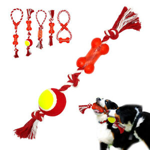 Interactive Dog Chew Toys Best for Pet Puppy Play Bite Durable Rubber Cotton Toy