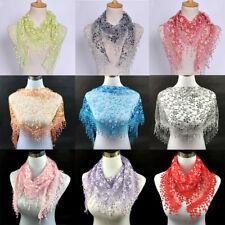 Women Lace Tassel Wintersweet Floral Mantilla Triangle Hollow Scarf Shawl Wrap