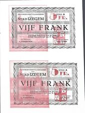 OORLOGSGELD, NOODGELD, IZEGEM, WERELDOORLOG II, 2x 5 frank, niet versneden