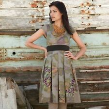 Anthropologie Floreat Travessia Embroidered Purple & Green Floral Dress Size 4