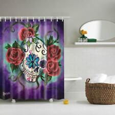 "Fabric Bathroom Shower Curtain 71"" Divider Panel Hooks Set Roses Skull Print"