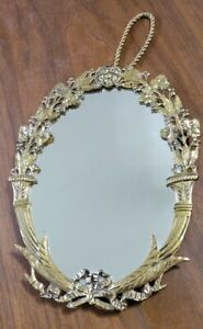 ANTIQUE GOLD GILDED METAL HANGING WALL MIRROR MIRROR VICTORIAN ART NOUVEAU