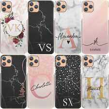 Initial Phone Case, Personalised Pink/Black Marble Hard Cover For Samsung A