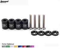 """Racing 1"""" Billet Hood Vent Spacer Riser Kit For Car Turbo Engine Motor 6mm Black"""