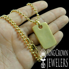 HIGH QUALITY 18K YELLOW GOLD PLATING MEN'S DOG TAG CHAIN NECKLACE CHARM SET NEW