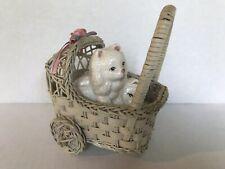 Vintage Cats Kitty white Cats feline figurines in a wicker basket ceramic cute