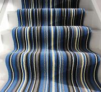 Modern Blue Grey Striped Hallway Stair Carpet Narrow Wide Any Length Per Metre