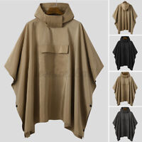 Men Batwing Sleeve Poncho Raincoat Casual Loose Cape Cloak Outdoor Outerwear Top