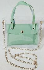 Mint Tote with Removable Shoulder Bag Pouch with Shoulder Strap Mint & Clear New