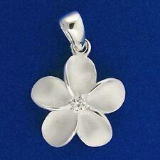 Sterling Silver 12mm White Hawaiian Frangipani Flower Pendant Solid 925 Plumeria