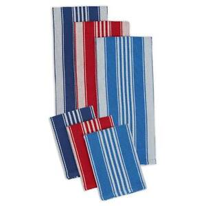6 Piece Coastal Red, White, Blue Heavyweight Cotton Dish Towel & Dishcloth Set