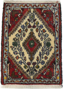 Handmade Vintage Cream Tribal 1'4X2 Small Tiny Oriental Rug Kitchen Decor Carpet