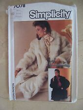 1985 Simplicity 7078 pattern misses Lined or Unlined FAKE FUR Coat Sz Med UNCUT