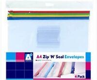 Anker A4 Zip & Seal Plastic Envelopes Folders, 4 Pack