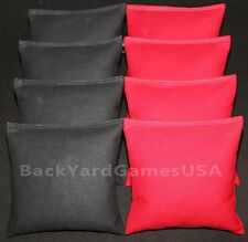 ALL WEATHER  CORNHOLE BEAN BAGS Black & Red Resin Filled Game Bags