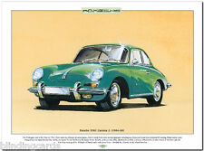 Porsche 356c Carrera 2 (1964-66) Fine Art Print-Tamaño A3 Foto Coche Deportivo Arte