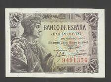 Spain 1 Peseta 21-05-1943  UNC P. 126  Numbering only, Banknotes Uncirculated