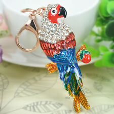 New Arrive Parrot Keyring Rhinestone Crystal Pendant Keychain Bag Christmas Gift