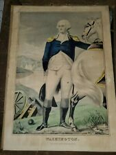 Rare N Currier Washington Early Colored Litho