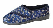 Zedzzz Janice Ladies Slippers Touch Fastening Washable Blue Floral UK 3 - 8 UK 5