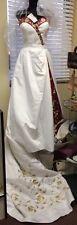 Wedding Dress Gown White & Red W/ Gold Embroidery STUNNING ! Zuri Size 10