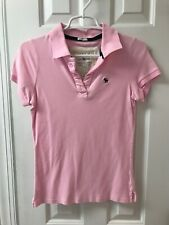 Women's Abercrombie And Fitch Medium Pink Polo Shirt Stretch