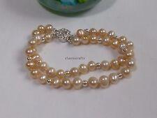 Genuine 4mm silver bead+ 6-7mm egg RND freshwater pearls bracelet L18cm Pink