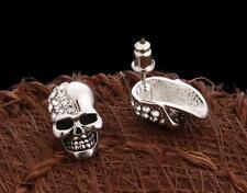 Fashion Women 925 Sterling Silver Jewelry Skull Crystal Ear Stud Earrings Pair