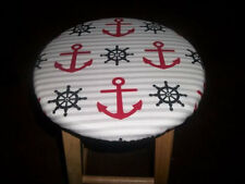 "13"" Reversible Bar Stool Cover Anchor Nautical Boat Gray Stripe to Red Americana"