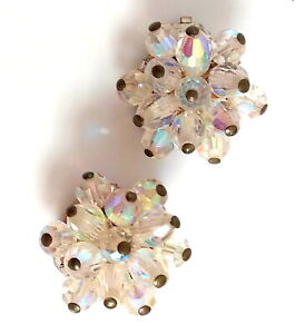 Ladies VINTAGE  1950's AB GLASS CLUSTER BEAD EARRINGS White Metal CLIP-ON CLIP