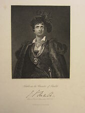 1844 ANTIQUE PRINT ~ KEMBLE IN THE CHARACTER OF HAMLET